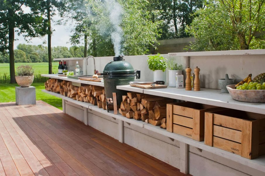 Green egg in wwoo concrete outdoor kitchen ideas
