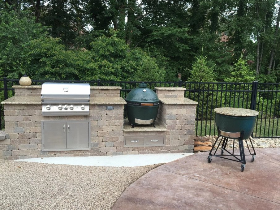 Green egg grill outdoor kitchen designs