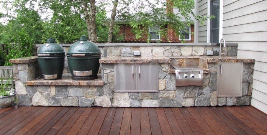 Green egg stone outdoor kitchen ideas