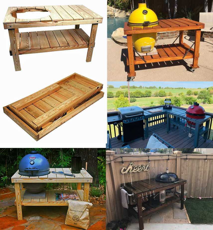 Grill table DIY kit - also shown with Big Green Egg