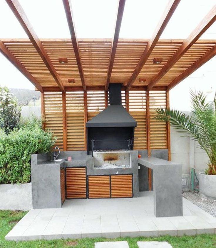 Modern pergola outdoor kitchen ideas