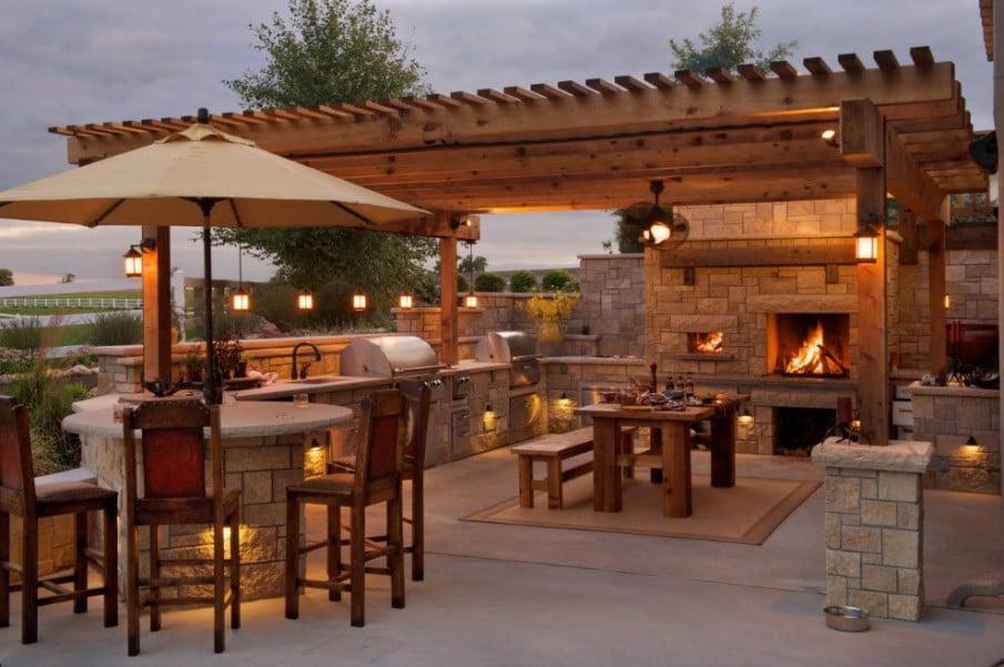 Outdoor kitchen pergola plans