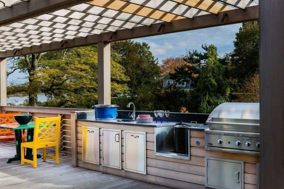 Pergola outdoor kitchen ideas