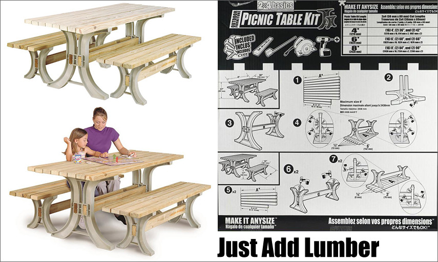 Easy to assemble picnic table DIY kit - just add 2x4s