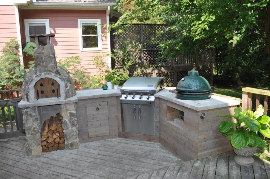 Rustic big green egg outdoor kitchen