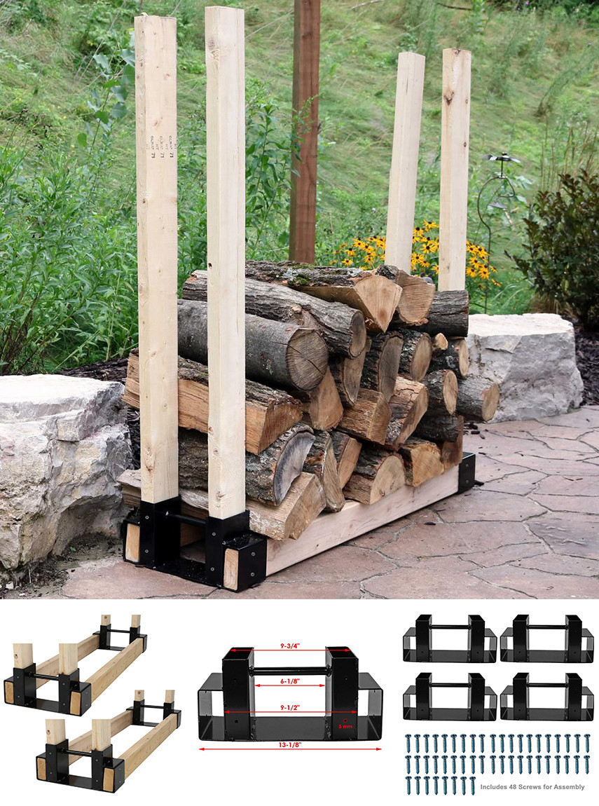 Firewood rack DIY bracket kit in steel that can be adjusted to any length