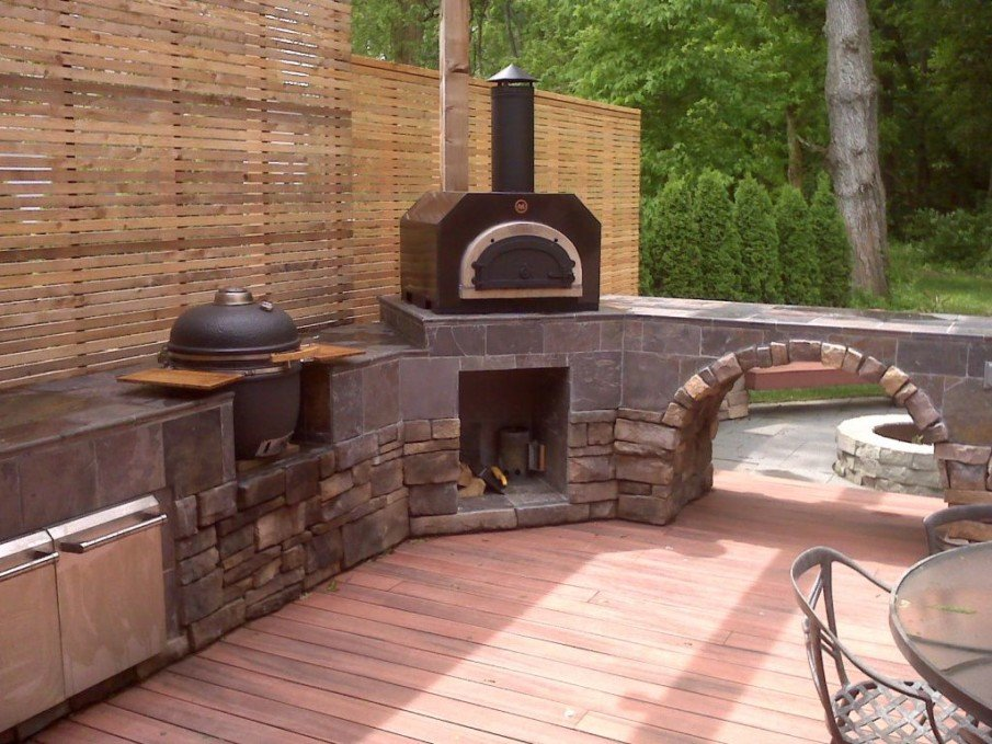 Unique big green egg outdoor kitchen idea