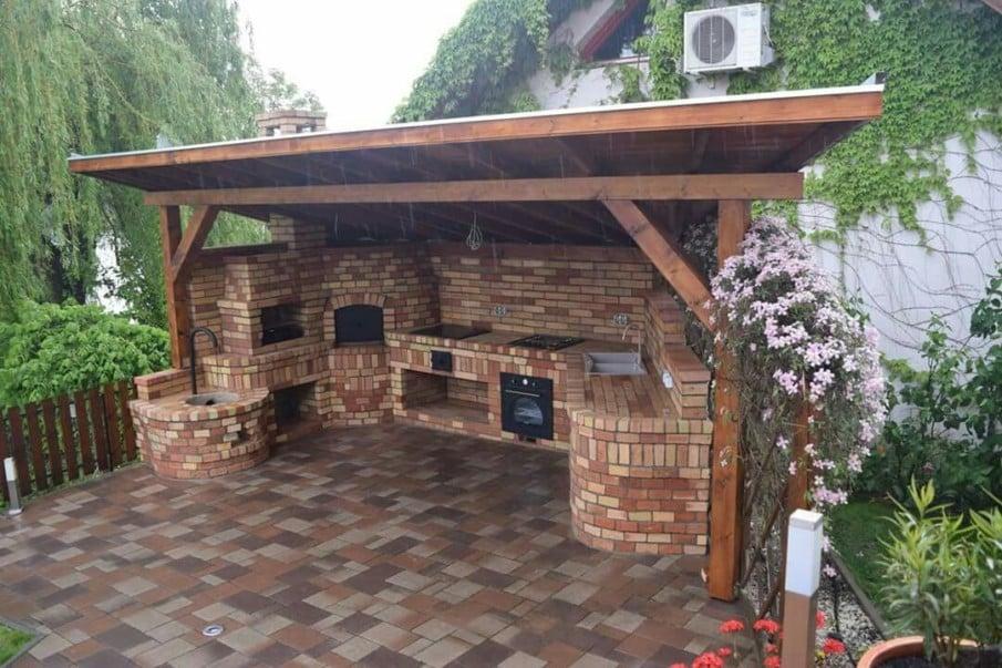 Unique outdoor kitchen under pergola