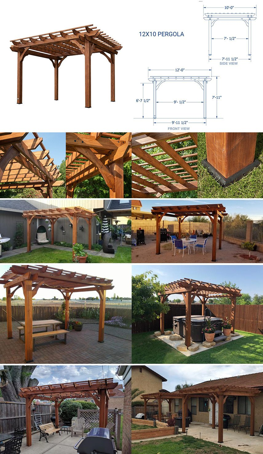 10 ft x 12 ft Cedar Pergola DIY Kit