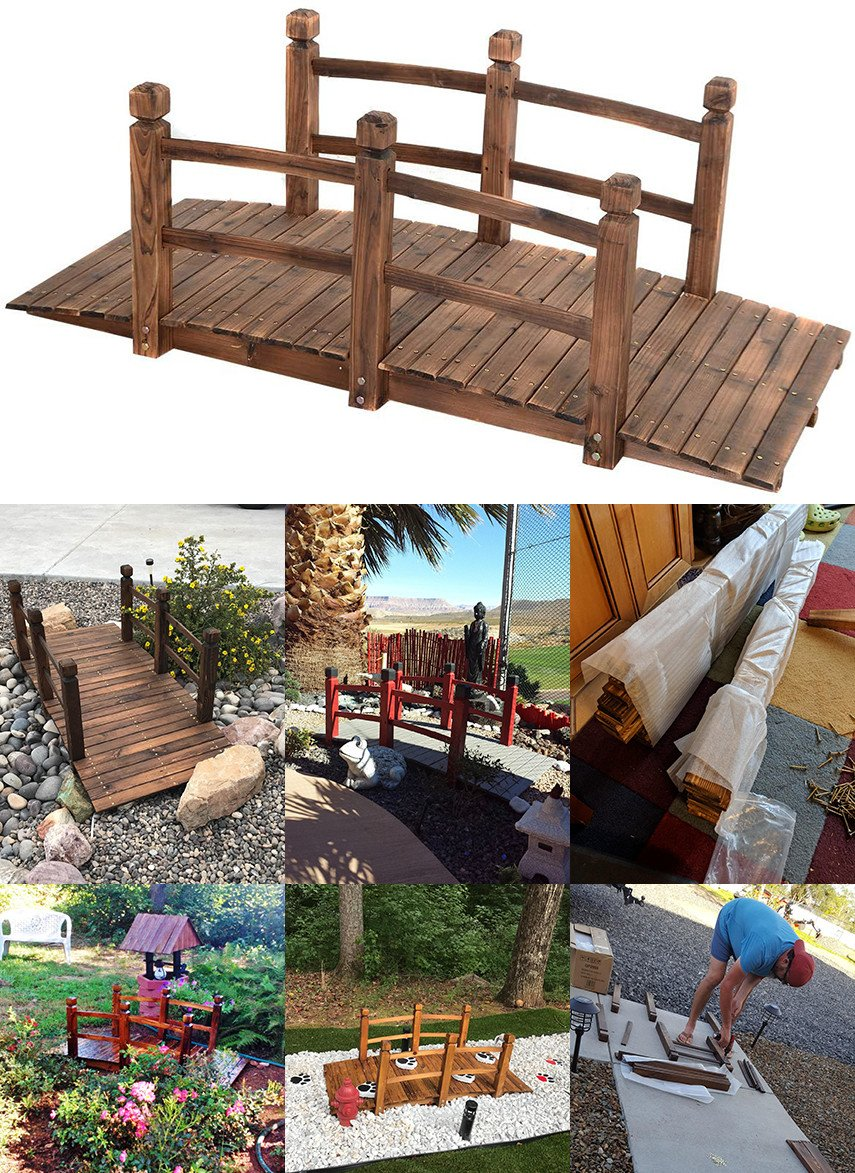 Decorative wooden garden bridge DIY kit