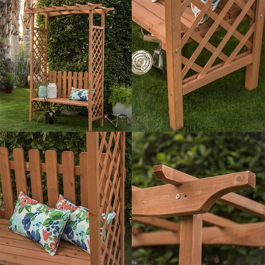 Assemble yourself a garden arbor bench with trellis