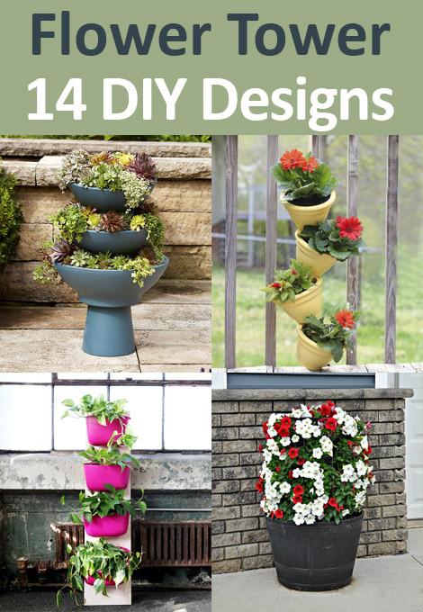 14 Flower Tower DIY Design Ideas
