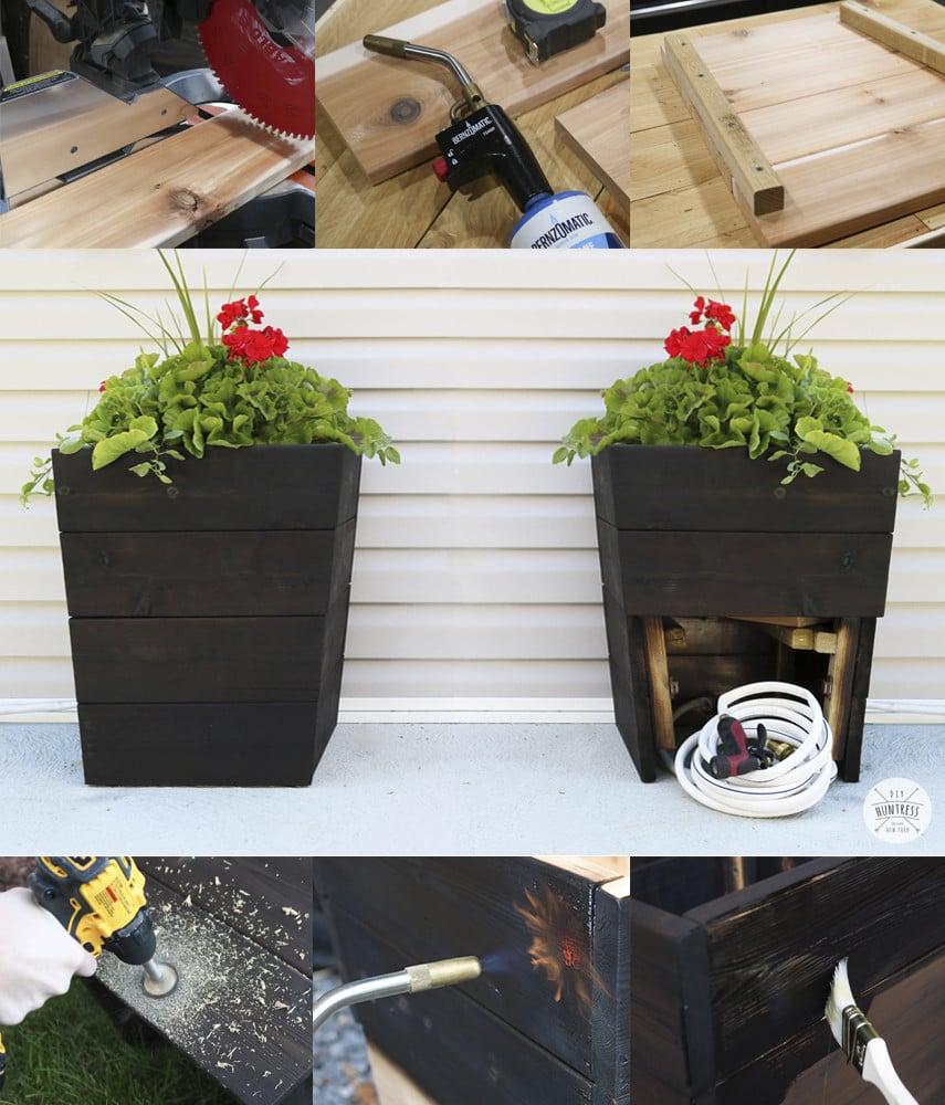 DIY Planter with Garden Hose Storage