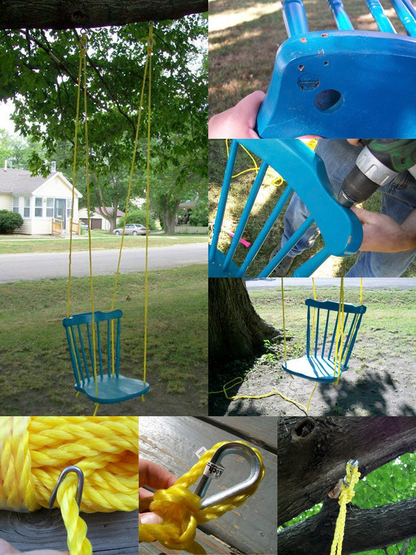 A tree swing made from a chair purchased in a thrift store