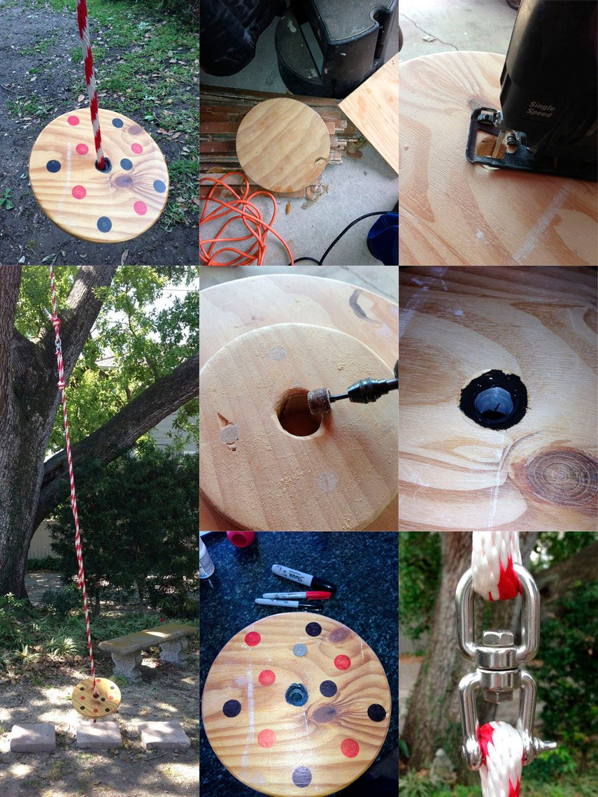 DIY wooden disk swing