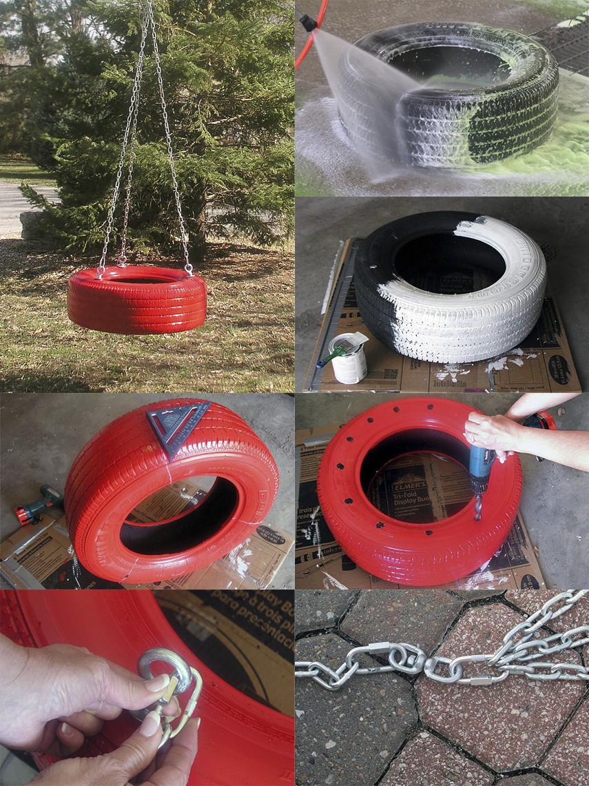 An awesome red painted tire swing