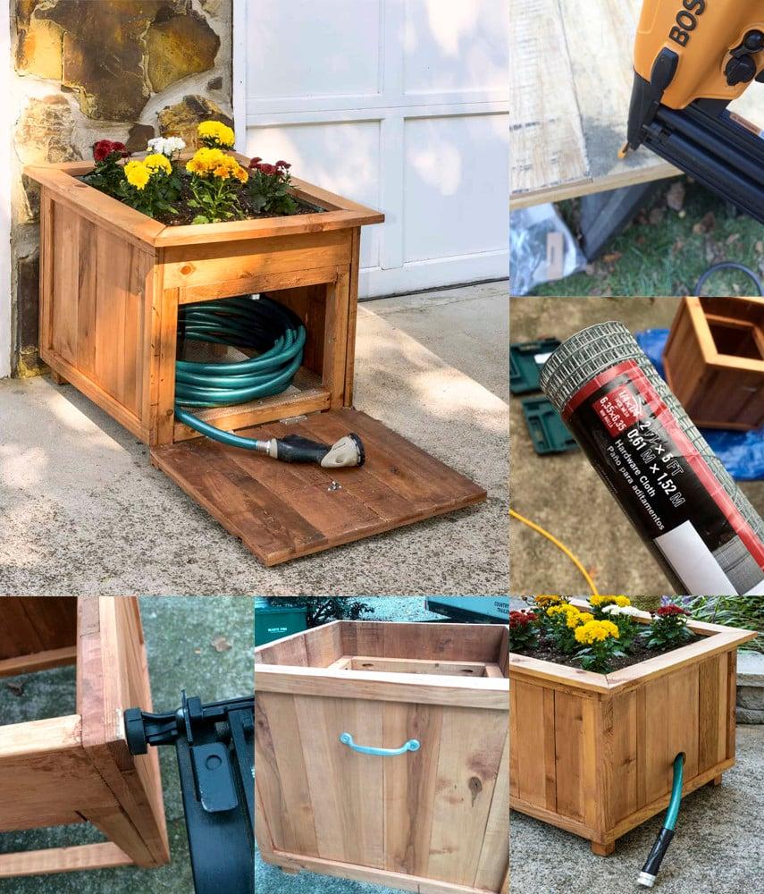 Garden Hose Box with Planter - DIY Plan