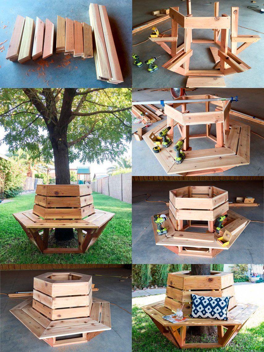 DIY Hexagon Cedar Tree Bench plan