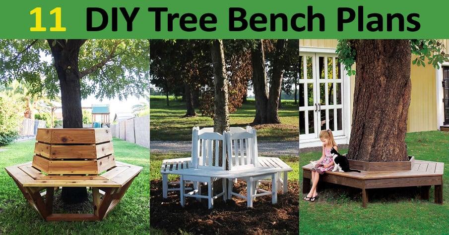 FREE DIY Tree Bench Plans
