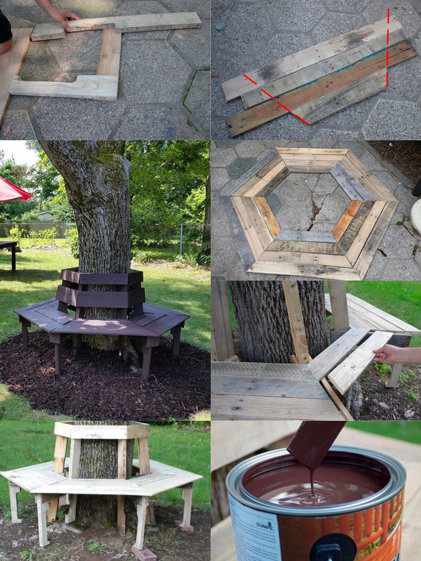 A DIY Tree Bench plan built from 4-6 pallets
