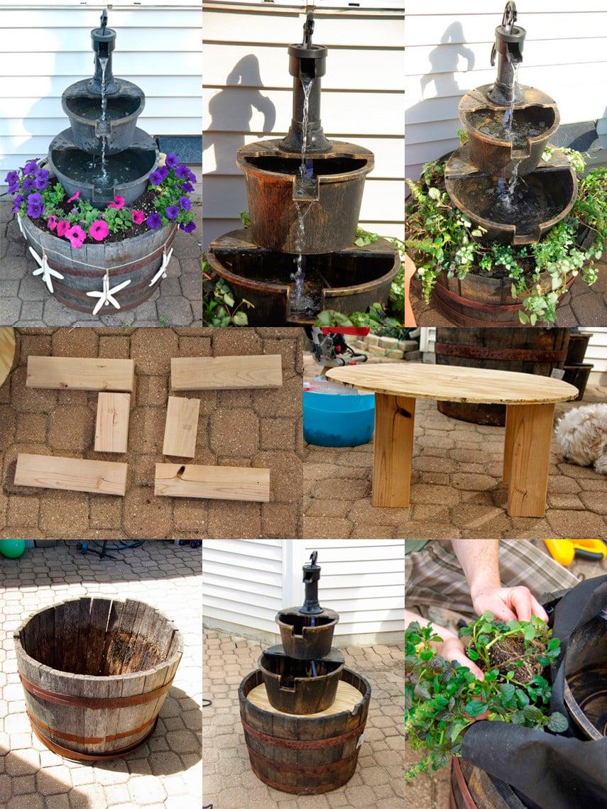 DIY Barrel Garden Fountain Idea