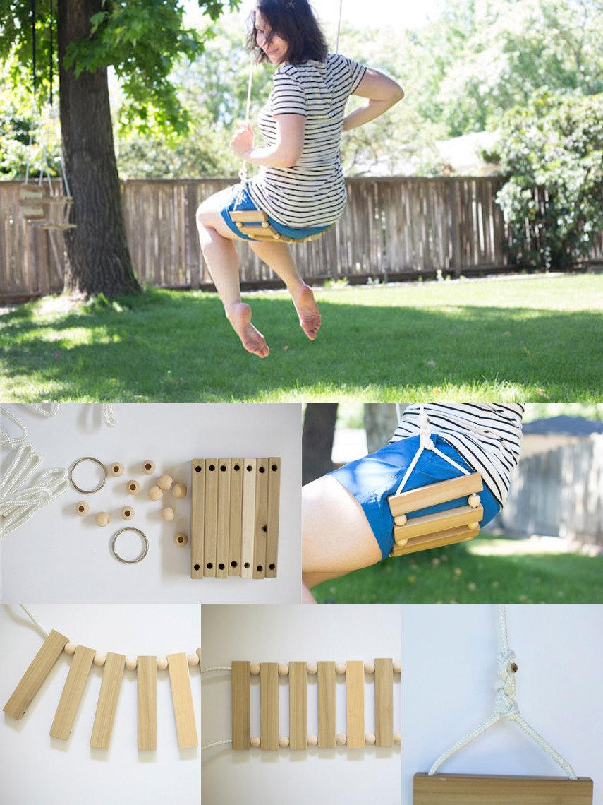 Tree swing assembled from wood bits and planks