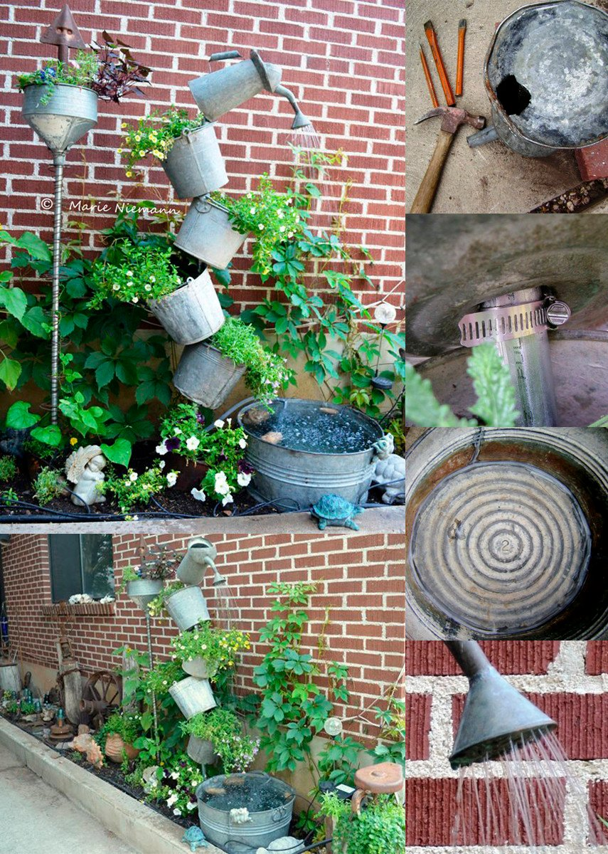 A DIY design for a Vertical Garden Fountain made out of old buckets