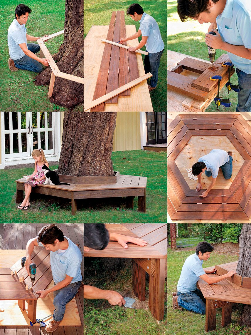The classic hexagonal DIY Tree Bench plan