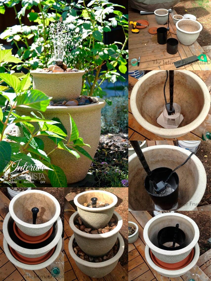 DIY Flower Pot Fountain Idea