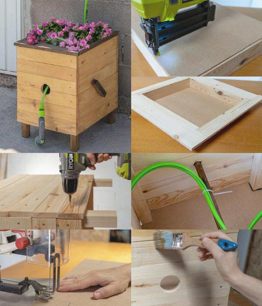DIY Planter Box with Hose Reel Plan