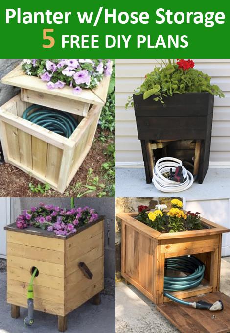 Planter Box with Garden Hose Storage DIY Plans