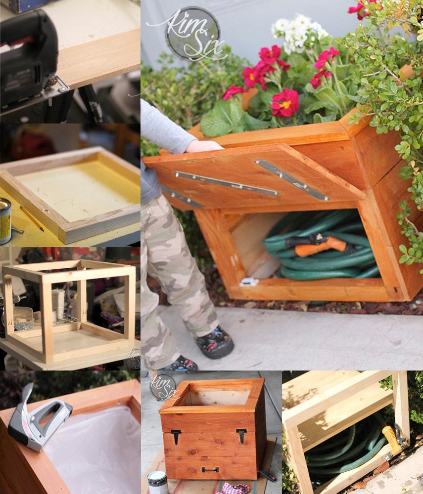 DIY Planter Box with Hidden Hose Storage