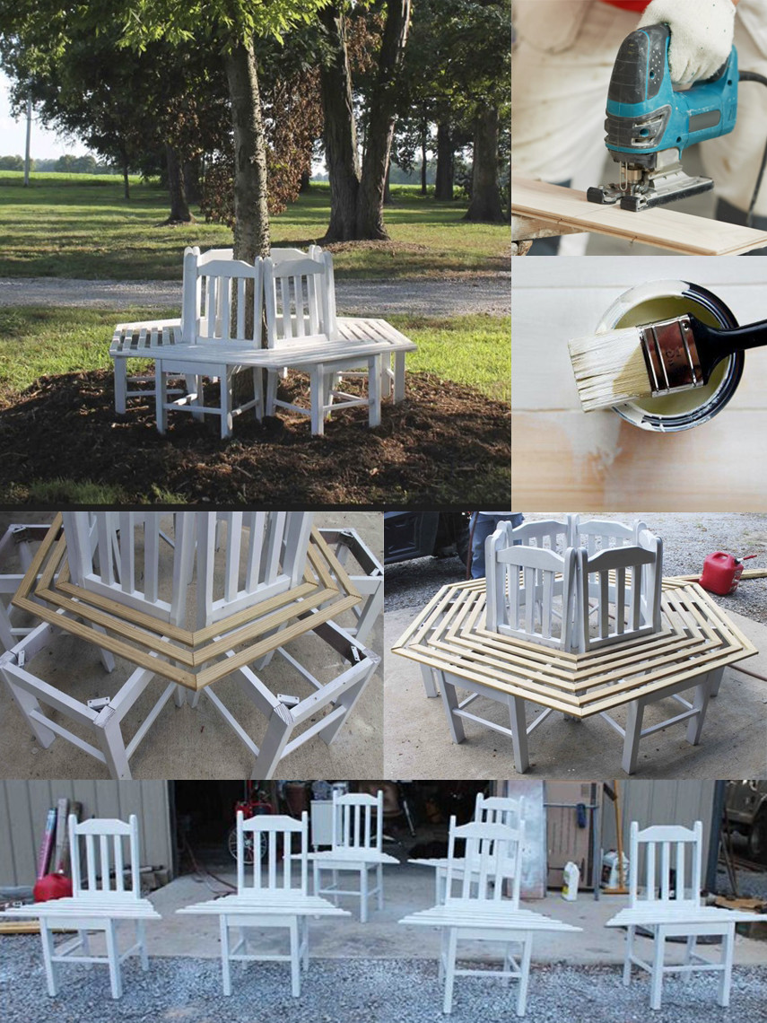 How to Make a DIY Tree Bench out of Chairs