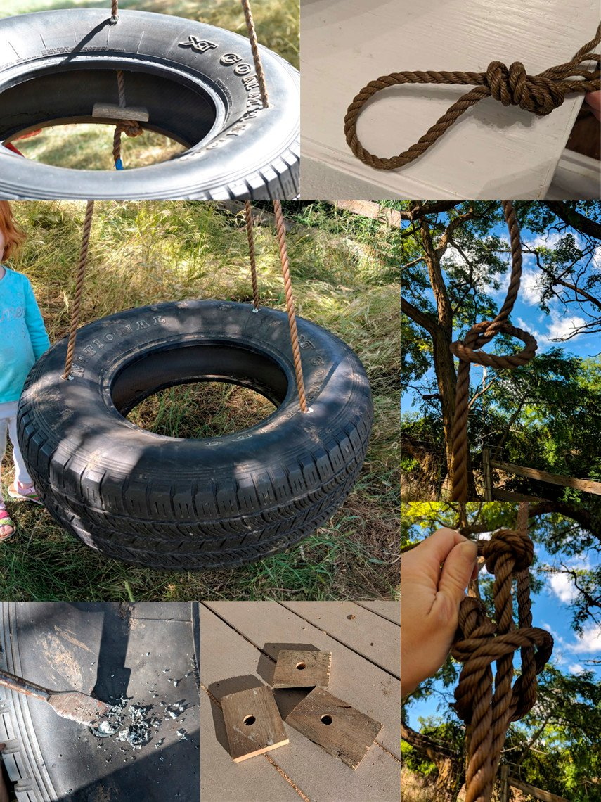 Tree swing made from a tire