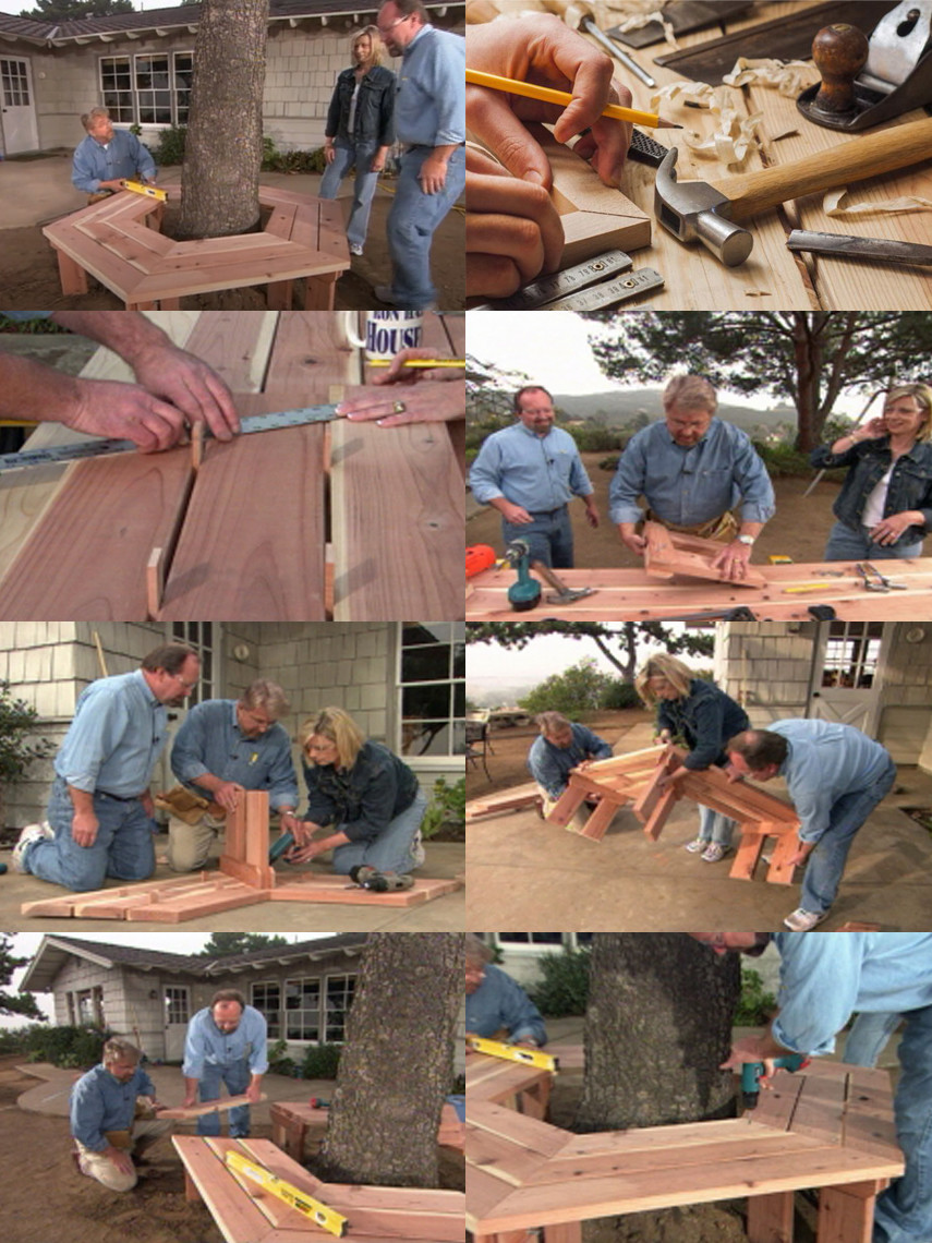California Redwood DIY Tree Bench Plan by Ron Hazelton