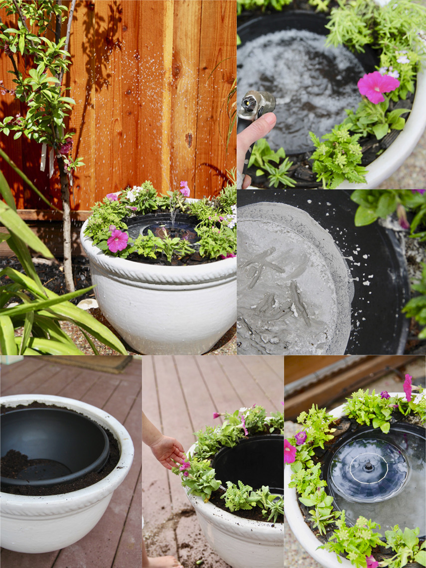 This Solar Panel Flower Pot Fountain was built for under $30
