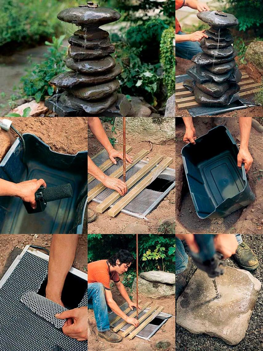DIY Rock Fountain Idea for the garden