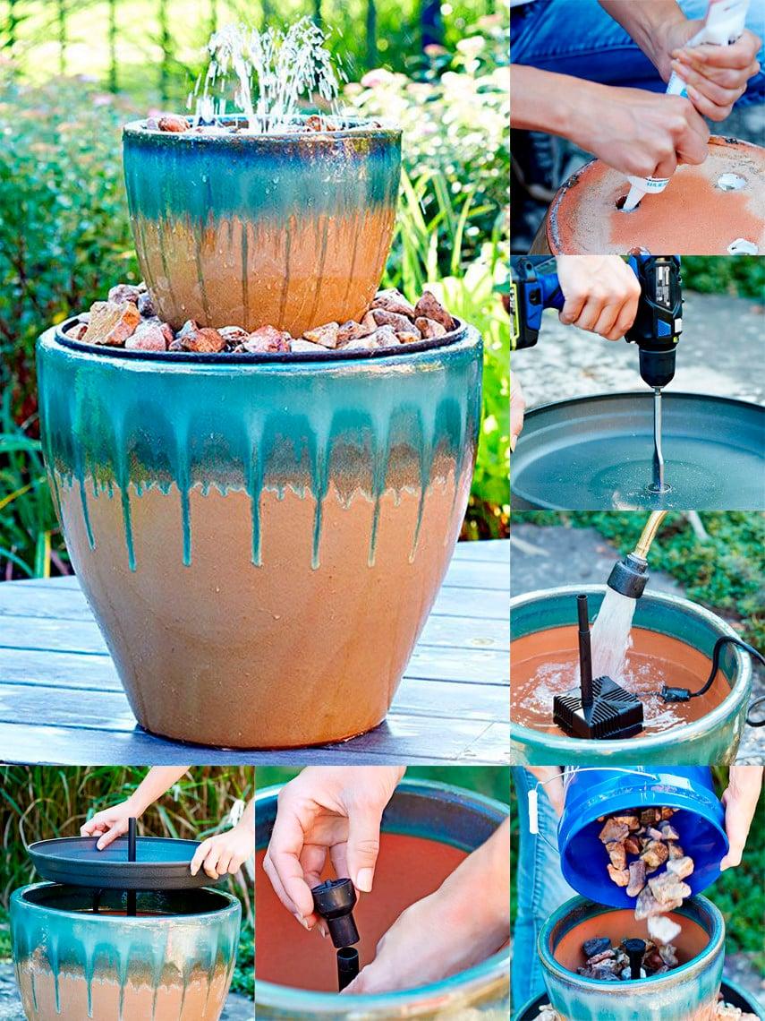 An Idea for a Colorful Two Tier Garden Fountain