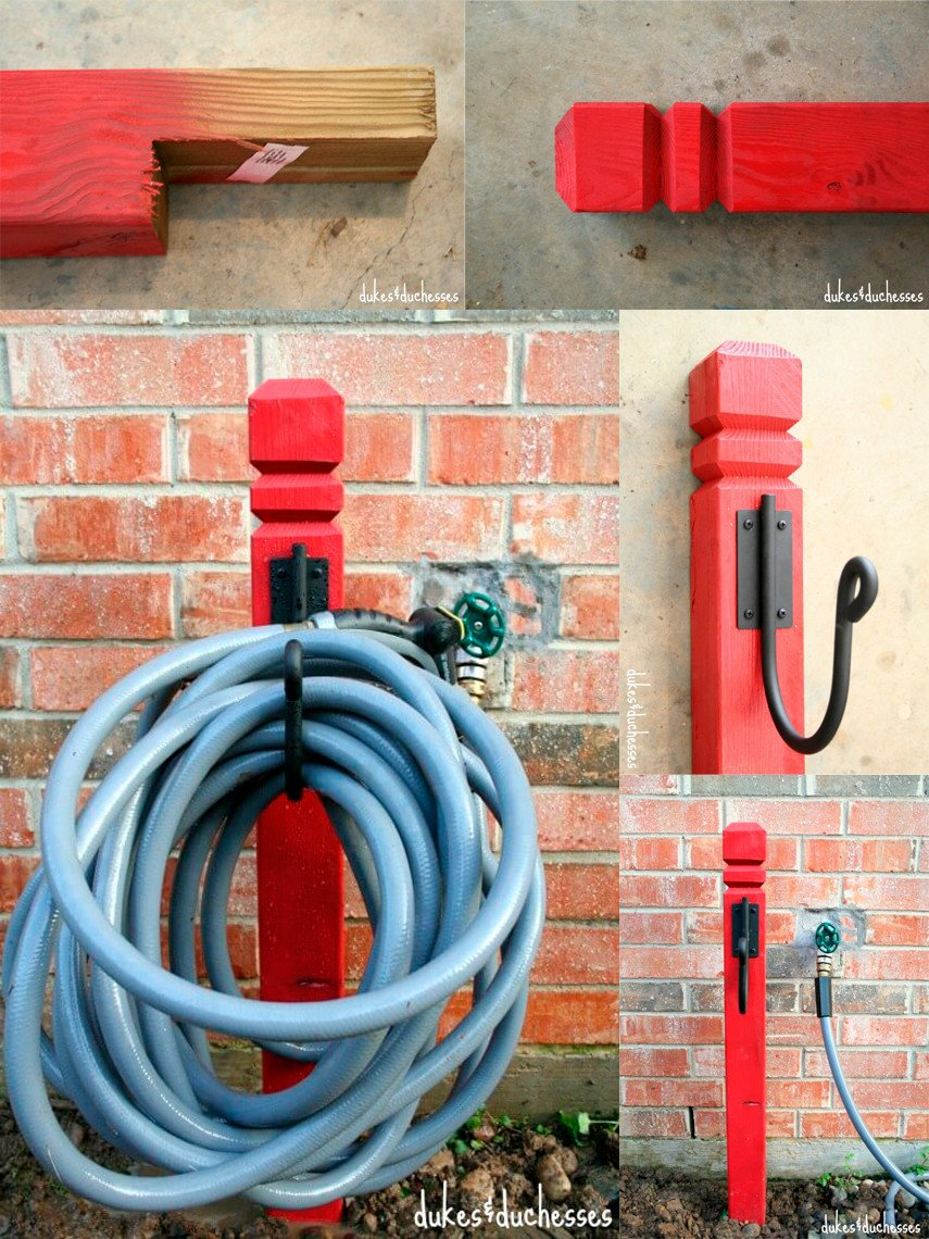 What a beautiful idea to paint your hose holder red!