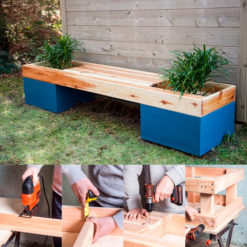 Cedar Planter Bench with Painted Boxes