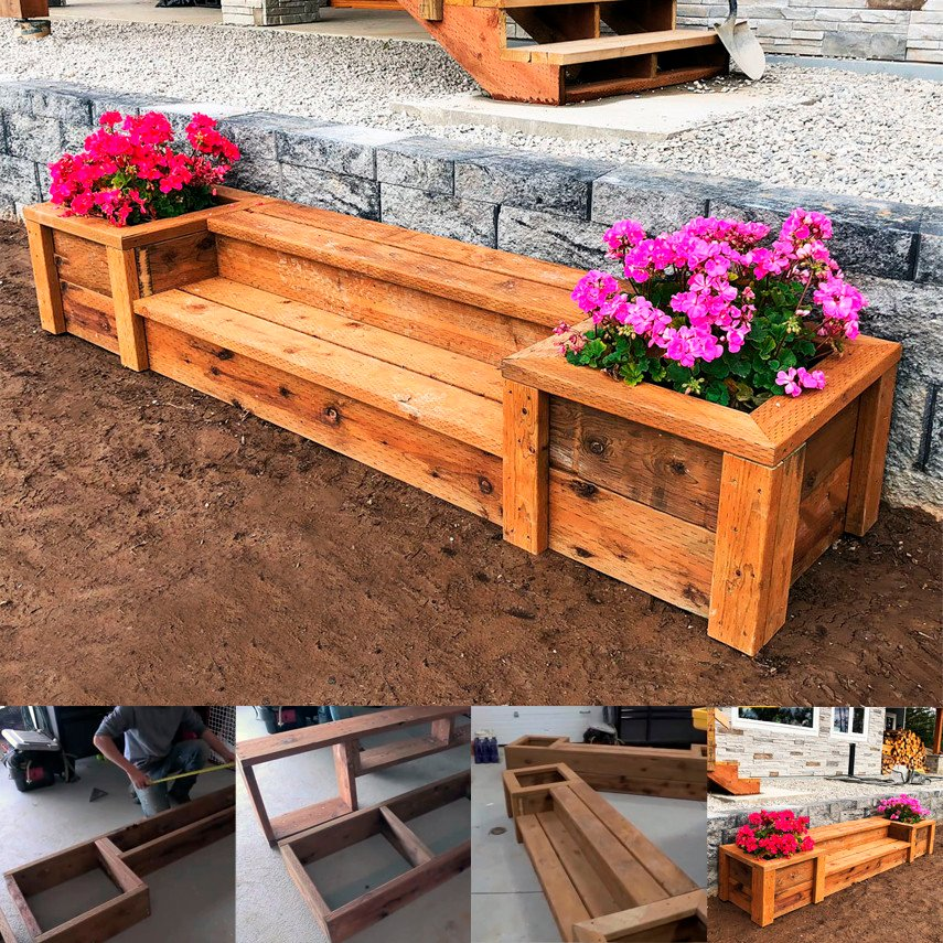 DIY Planter Bench with Steps from Ana White
