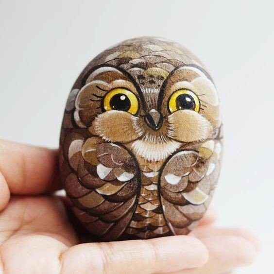 Brown baby owl painted rock