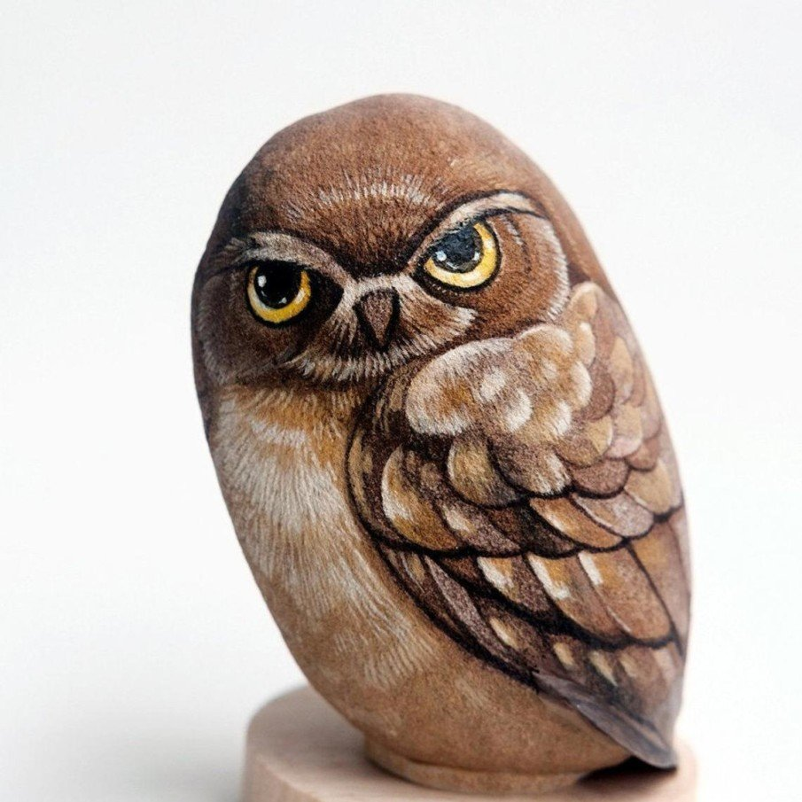 Realistic rock painting of an owl