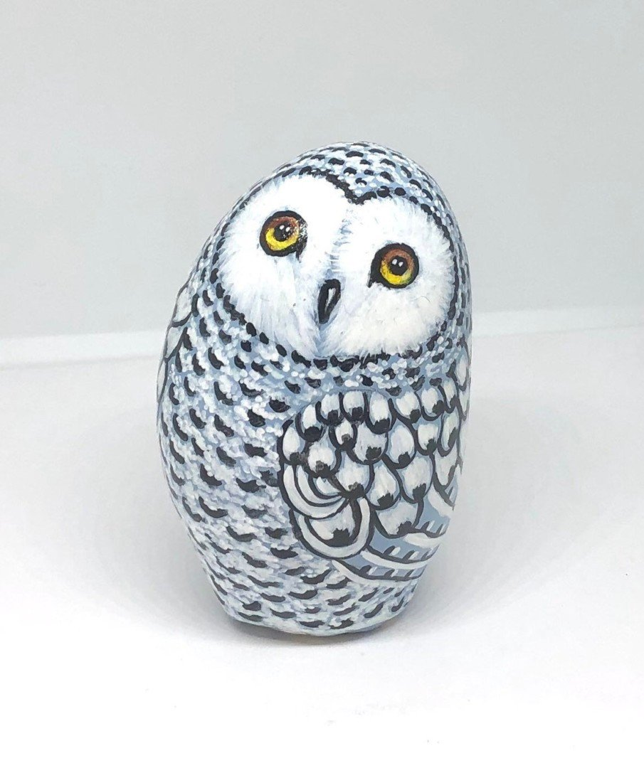 Charming snowy owl rock painting - a great gift for women or home decor