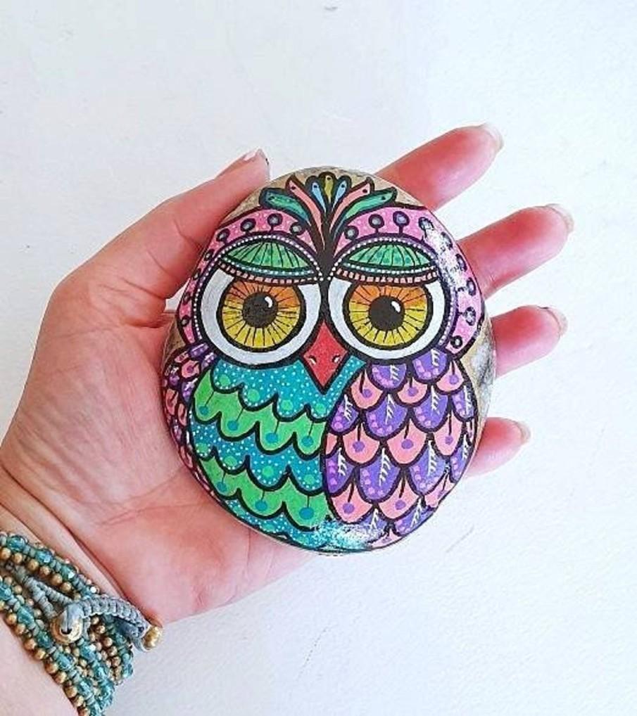 Boho style painted owl stone