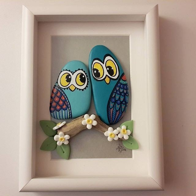 Owl rock painting framed duo