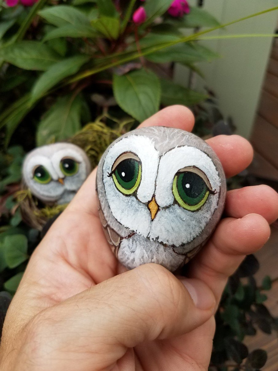 Tiny pebble painted owl