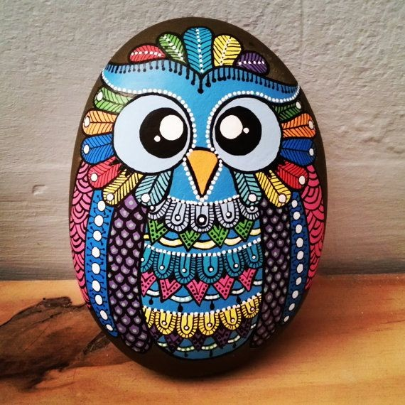 Indian style owl painted rock in colors
