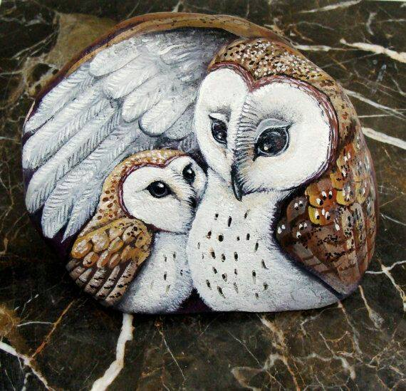 Rock painted owls - mama and baby