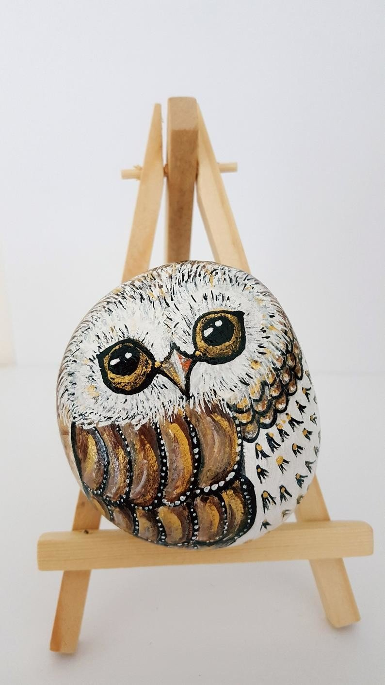 Owl rock painting with lovely eyes